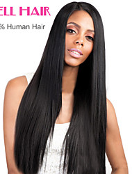 8-24inch Brazilian Silky Straight Human Hair Lace Frontal Wig Adjustable Cap Hair Natural Colors Available