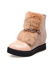 Calçados Femininos Courino Anabela Botas de Neve/Arrendondado Botas Escritório & Trabalho/Social/Casual Preto/Bege