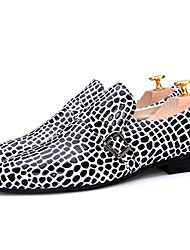 Men's Shoes Leopard Banquets/Weddings/Parties/Nightclubs Trend Casual Leather Shoes White/Orange/Green/Bule