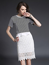 The new 2015 summer dress stitching striped suit dress fashion leisure suit of cultivate one's morality