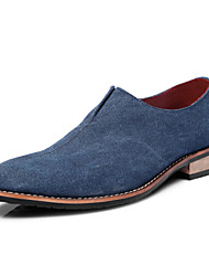 Oxfords ( Lienzo/Cuero , Negro/Azul/Gris Tacón plano para Zapatos de hombre