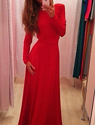 Women's Round Neck Backless Dress , Cotton Maxi Long Sleeve