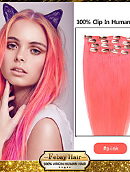 "20 ""roze 7pcs klem in remy human hair extensions"