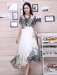Mulheres Vestido Médio Manga Curta Colarinho Chinês Mulheres