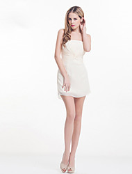 Dress - Ivory Sheath/Column Strapless Knee-length Satin Chiffon