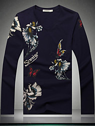 Men's long sleeve T-shirt China's big yards butterfly flower new men's T-shirt fat men's long sleeve T-shirt