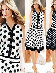 Women's V-Neck Button Dresses , Cotton Blend Bodycon Sleeveless gorgeous