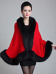Women Fox Fur/Faux Fur Shawl & Wrap
