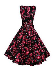 Women's Round Dresses , Cotton Blend Print Sleeveless life