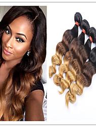 3pcs / lot ombre brésiliens des faisceaux vierges d'armure de cheveux humains d'onde lâche 1b 4 27 extensions de cheveux Ombre brazillian