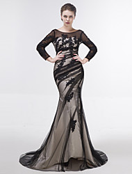 Dress-Black Trumpet/Mermaid Scoop Sweep/Brush Train Tulle