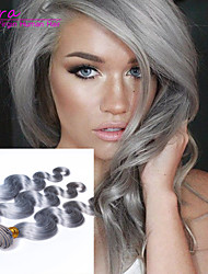 Grado 6a extensiones de cabello gris europeo cuerpo virginal del pelo de platino ola gris 3pcs / lot paquetes armadura del pelo humano de