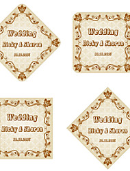 Personalized Wedding Tags Address Labels Envelope Sticker Brown Pattern Of Filmed Paper