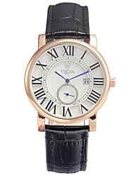 Herren-Business-Stil zweiten Wahllederband Band-Quarz-Armbanduhr