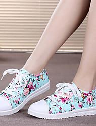 Canvas Lady Women's Shoes Black/Blue/Almond Wedge Heel 0-3cm Fashion Sneakers
