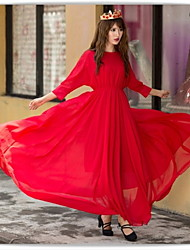 Women's Round Dresses , Chiffon Casual/Party ¾ Sleeve summer