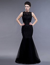 Fit & Flare Jewel Neck Floor Length Lace Tulle Evening Dress