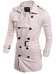 Men's Solid Casual Trench coat,Others Long Sleeve-Blue / White