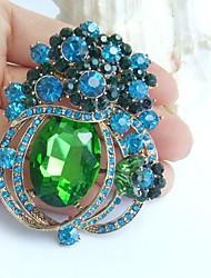 2.76 Inch Gold-tone Blue Green Rhinestone Crystal Flower Brooch Pendant Art Decorations