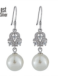 Gorgeous and Noble Silver Set Auger Pearl Stud Earrings RE01