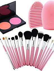 15Pcs Pro Cosmetic Make Up Brush Set Lipbrush Superior Soft+Face Pressed Blush Cake Oil Control+ Cleaning Tool Glove