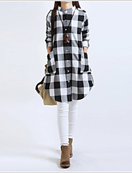 Women's Plaid Red / White Dresses , Casual / Work Round Long Sleeve