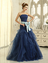 Formal Evening Dress Trumpet / Mermaid Strapless Floor-length Tulle with Pleats