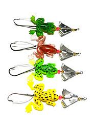 4pcs Hengjia Rubber Frog Soft Fishing Lures Spoon Spinner Baits 6.2g