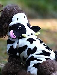 Gatos Cães Fantasias Camisola com Capuz Macacão Preto Branco Roupas para Cães Inverno Primavera/Outono Animal Fofo Fantasias
