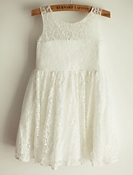 Princess Knee-length Flower Girl Dress - Lace / Satin Sleeveless Scoop with