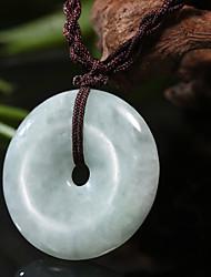 Natural Translucent Jade Donut Pendant