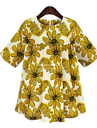 Women's Party/Cocktail Plus Size / Sexy Loose Dress,Print Round Neck Mini Short Sleeve Yellow Polyester Fall