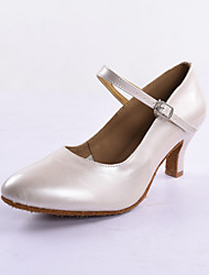 Women's Patent Leather Upper Ballroom Practice Dance Shoes Mid Heel
