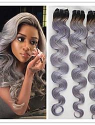 3pcs / lot unverarbeitete # 1b / grau Haarverlängerungen boby Welle brasilianische schwarze und graue Farbe ombre reines Menschenhaar