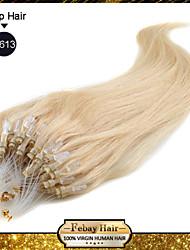 """20 """"rubias lejía (# 613) 100s extensiones de cabello humano remy micro loop"""