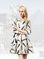2015 summer new retro fashion feather printing high quality thin temperament sleeve dress women clothing