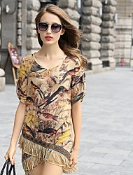 2015 Summer New Women Dress Fashion Ladies Printing Ink Dress Retro Silk Skirt Irregular Silk Dress Tassel