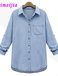 WeiMeiJia®Women's Shirt Collar Blouse , Denim Long Sleeve