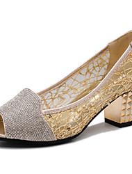 Women's Shoes Synthetic Low Heel Heels/Comfort Sandals Office & Career/Party & Evening/Dress/Casual Black/Silver/Gold
