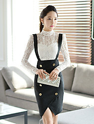 Pink Doll®Women's Casual Bodycon OL Button High Waist Asymmetrical Slim Skirts