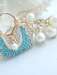 bolsa chaveiro bolsa encantador com azul&cristais de strass claras