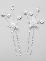 Women's Flower Girl's Pearl Alloy Imitation Pearl Headpiece-Wedding Special Occasion Hair Pin 2 Pieces