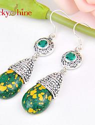 Ohrring,Tropfen-OhrringeSchmuck 2 Stück versilbert Silber / Grün