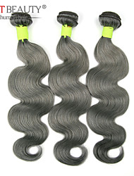 "3pcs/lot 10""-26"" Grey Green Hair Virgin Brazilian Hair Body Wave Remy Human Hair Bundles"