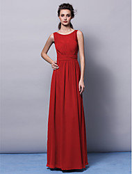Lanting Bride® Floor-length Chiffon Bridesmaid Dress - Sheath / Column Jewel Plus Size / Petite with Draping / Sash / Ribbon / Ruching