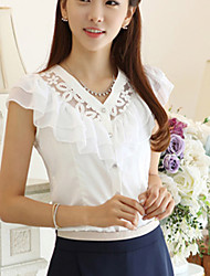Women's Solid White / Black Blouse,V Neck Sleeveless