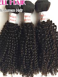 goedkope peruviann virgin haar kinky krullend menselijk haar 3 bundels 12'-26 'inches natuurlijke black hair extensions