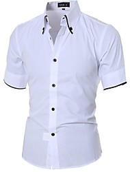 Men's Solid Casual Shirt,Cotton Short Sleeve Black / White