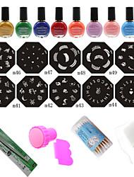 Nail Art Stamp Nail Printing Template (10 Nail Plates + Stamper + Scraper  + 10 Colors Printing Oil)