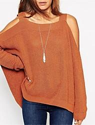 Damen Standard Pullover Solide Weiß Braun Grün Orange ½ Länge Ärmel Baumwolle Leinen Andere Herbst
